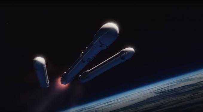 재사용 로켓으로 이뤄진 '팰컨헤비'의 상상도. 발사된 뒤 지구 대기권을 빠져 나가면 1단 양쪽의 로켓 2개가 먼저 분리돼 다시 지상으로 돌아간다. 가운데 로켓도 2단 로켓과 분리된 뒤 해상에서 착륙을 시도한다. - 스페이스X 제공